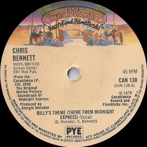 Chris Bennett - Billy's Theme (Theme From Midnight Express) (Vocal) - Casablanca - CAN 138