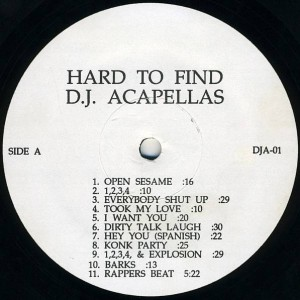 Various - Hard To Find D.J Acapellas - Not On Label - DJA-01