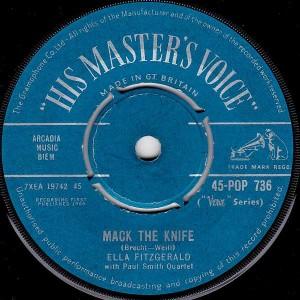 Ella Fitzgerald - Mack The Knife / Lorelei - His Master's Voice - 45-POP 736