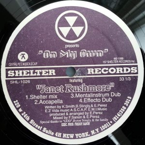Janet Rushmore - On My Own - Shelter Records - SHL-1026