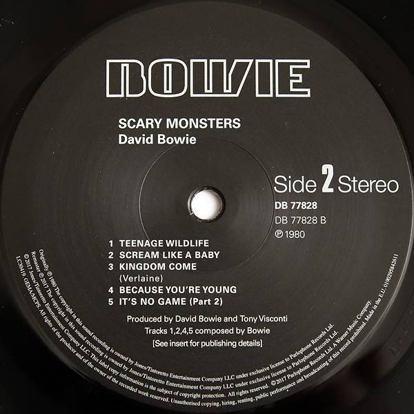 David Bowie - Scary Monsters - Parlophone - DB 77828, Parlophone - 0190295842611