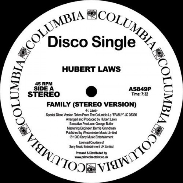 Hubert Laws - Family - Columbia - AS849P