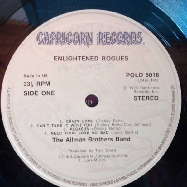 The Allman Brothers Band - Enlightened Rogues - Capricorn Records - POLD 5016 (2476 145)