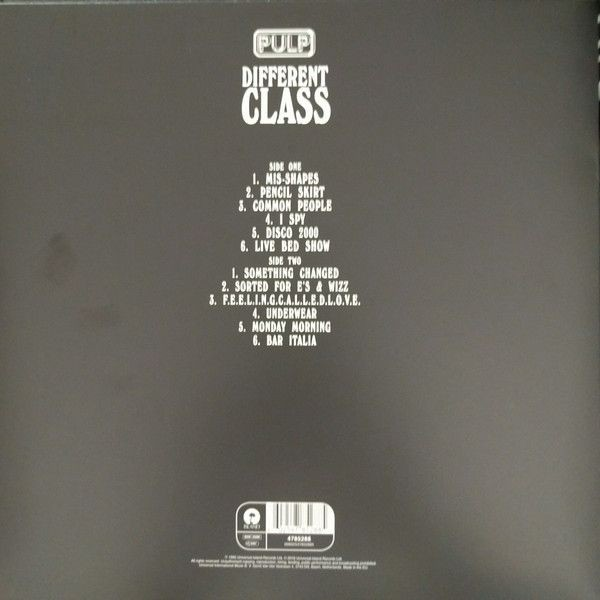 Pulp - Different Class - Island Records - 4785288, Island Records - 00602547852885