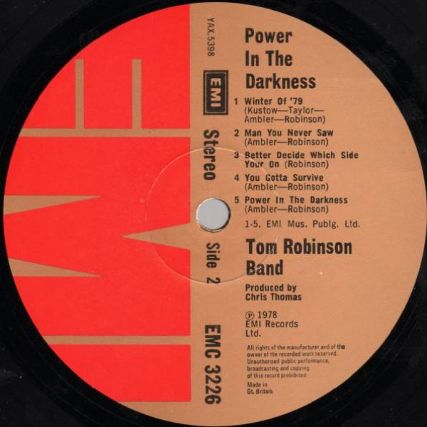 Tom Robinson Band - Power In The Darkness - EMI - EMC 3226, EMI - 0C 062-06 668